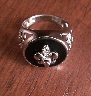 $59.31 • Buy Mens Sterling Silver Black Onyx With Cz Accents Fleur De Lis Ring - Size 9