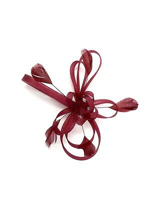 Burgundy / Dark Red Feather Fascinator Hair Clip Ladies Day Races Party Wedding • 21.99£