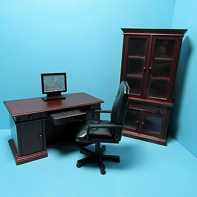 $44.99 • Buy Dollhouse Miniature Wood Mahogany Office Desk Chair Bookcase And Computer T3619