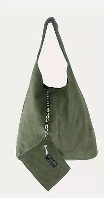 £29.45 • Buy Ladies New Italian Genuine Real Suede Leather  Oversize Slouch Shoulder Tote Bag