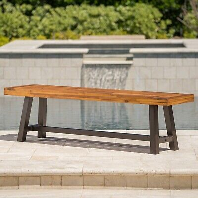 $170.87 • Buy Bowman Outdoor Sandblack Finish Acacia Wood & Rustic Metal Bench