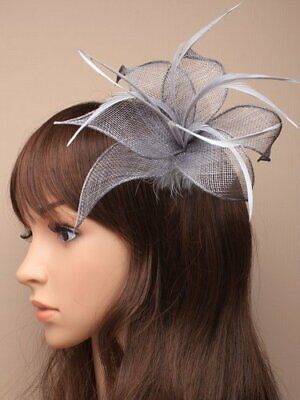 £5.99 • Buy Silver Grey Fascinator With Hessian Petals And Feather Tendrils (beak Clip An...