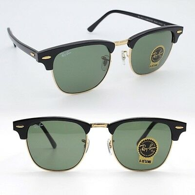 0ae75d5340e CLUBMASTER Ray-Ban New Sunglasses Black Frame Green G-15 Lens RB3016 W0365  51
