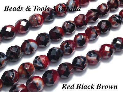AU5.99 • Buy Czech Fire Polished Glass Beads 8mm Red Black Brown (25pcs) - BEADS & TOOLS