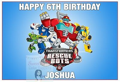Transformers Rescue Bots Cake Topper Decoration Personalised 9.5 X 6.5 Inches A4 • 5.99£