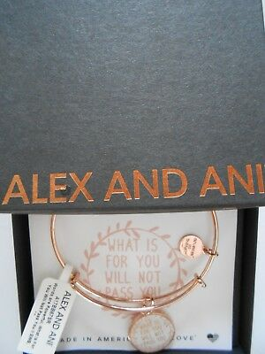 AU45.40 • Buy Alex And Ani WHAT IS FOR YOU WILL NOT PASS YOU II Bangle Bracelet Shiny Rose NWT