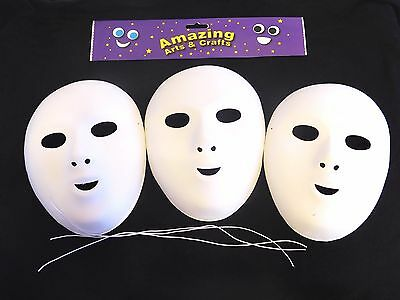 Fancy Dress Face Masks To Paint And Decorate Pack Of 3 Flock Finish Halloween • 8.55£