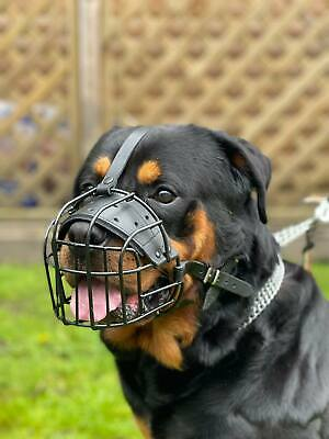 £25.99 • Buy Strong Metal Rubber Coated Wire , Basket Dog Muzzle Rottweiler Mastiff  &  Other