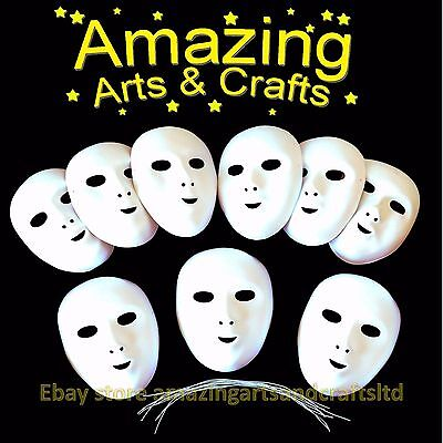 Fancy Dress Face Masks To Paint And Decorate 9 Pack Flock Finish Halloween • 11.10£