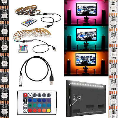 $3.59 • Buy 5V 5050 RGB LED Strip Light Bar TV Background Lighting Kit + USB Remote Control