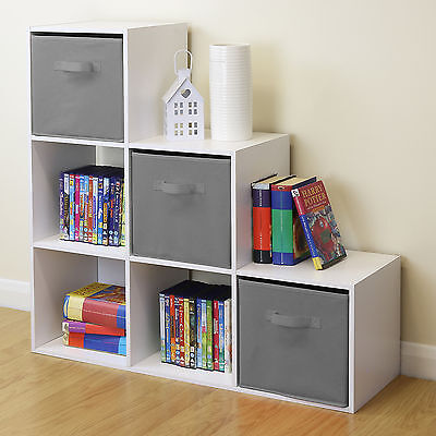 White 6 Cube Kids Toy/Games Storage Unit Girls/Boys Bedroom Shelves 3 Grey Boxes • 47.99£