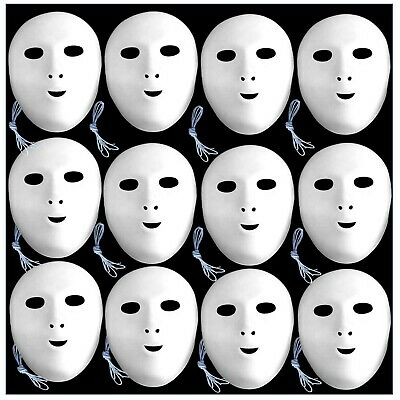 12 Face Masks White Flock Fancy Dress To Paint And Decorate  • 12.40£