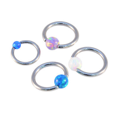 OPAL BALL BCR Captive Bead Ring Cartilage Tragus Hoop Septum Ring Surgical Steel • 2.99£