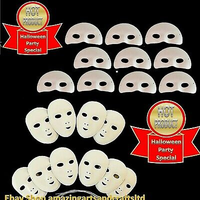£7.25 • Buy 10 Masks White Fancy Dress Full Face Masquerade Party Paint Decorate Mardi Gras