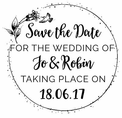 AU20.22 • Buy Personalised Laser Rubber Stamp - Humming Bird Wedding Save The Date
