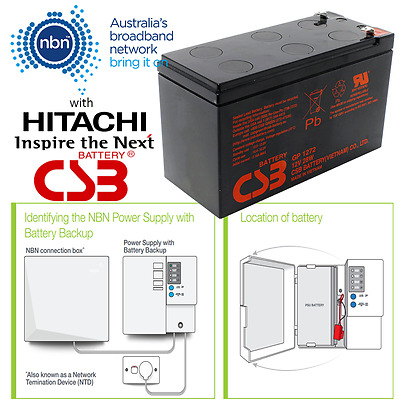 AU34.99 • Buy NBN Power Supply Battery By Hitachi CSB 12V 7.2Ah 6 Cell VRLA Sealed Lead Acid