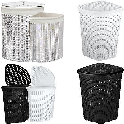 Large Corner Rattan/Wicker Laundry Basket Cloth Lining W/Lid Hamper Storage Bin • 18.97£