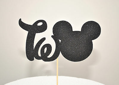 AU9.95 • Buy Mickey Mouse Glitter  TWO  Cake Topper OH TWO-dles 2nd Birthday Party Black