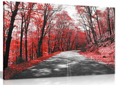 Black & White Road Trees Red Leaves Canvas Wall Art Picture Print • 34.99£
