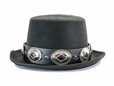 £25.17 • Buy Large Concho Leather Band Wool Top Hat Premium Quality Party On! Slash Hat