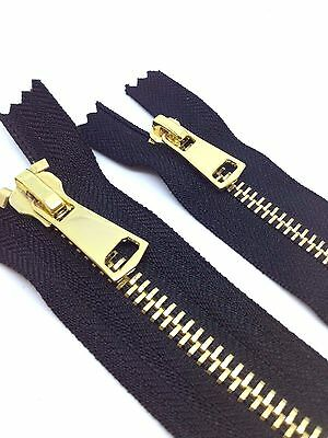 No 8 Or No 5 POLISHED GOLD TEETH ZIP/METAL OPEN Or CLOSED ENDED BLACK ZIPS • 5.50£
