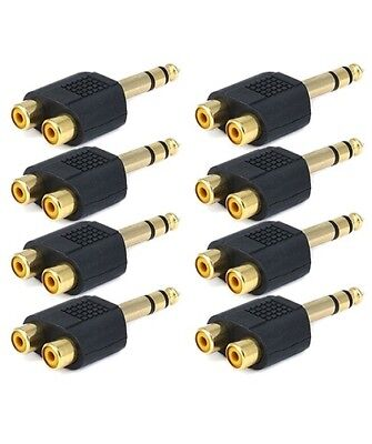£9.98 • Buy 8x Stereo 6.35mm 1/4 Inch Male Plug To 2 RCA Female Jack Audio Adapter Splitter