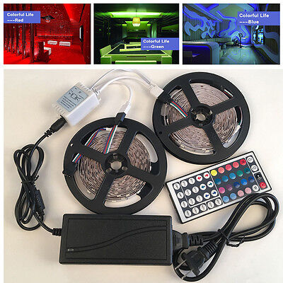 5/10M RGB 5050 LED Strip 600 SMD Lights With 44 Key Remote Controller+12V Power • 11.93$