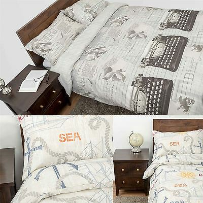 Duvet Cover With Pillowcase Printed Design Nautical & Vintage Style Bedding Set • 19.99£