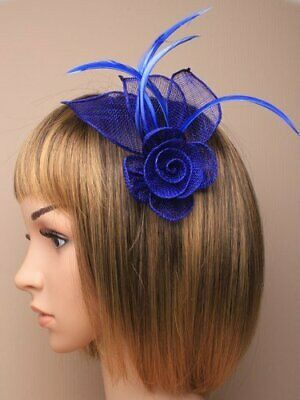 Royal Blue Fascinator With Hessian Rose, Petals, And Feather Tendrils (beak C... • 6.95£