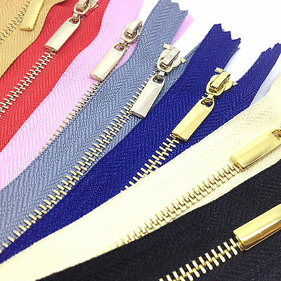 Metal Polished Gold Teeth Zips No3 Weight Zip -Closed End - Black,White (3GCE) • 3.99£