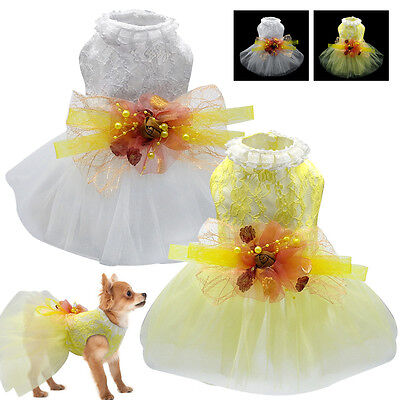 Flower Bowknot Dog Dresses Lace Shirt Wedding Party Dog Clothes White Yellow  • 6.30£