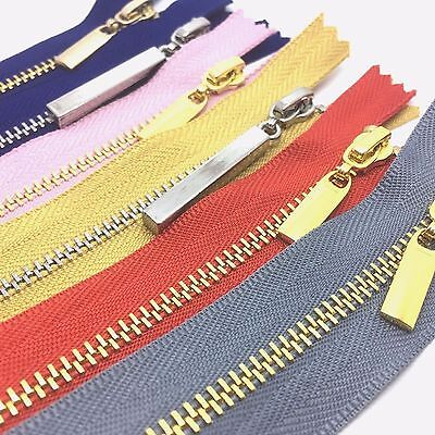 Metal Polished Gold And Silver Teeth No 3 Zips - Closed End - 8 Zip Colours • 3.95£