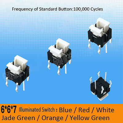 6 X 6 X 7mm LED Illuminated Switch Momentary Push Button Tactile SPST Micro PCB • 1.99£