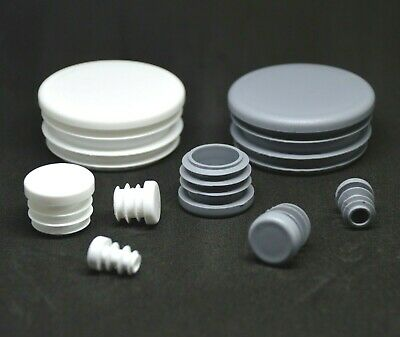 Round Blanking End Caps Plastic Plug Tube Inserts  /Grey Or White • 2.62£