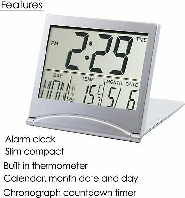 AU9.99 • Buy Desk Travel Digital LCD Thermometer Calendar Alarm Clock With Flexible Cover