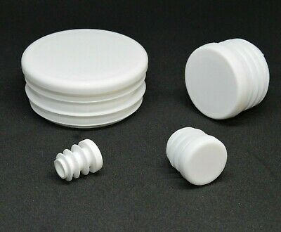 Round Blanking End Caps Plastic Plugs Tube Inserts /Various Sizes /White • 2.87£
