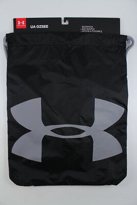 59fcbcd1df03 Under Armour Ua Ozsee Sackpack Black steel Gray Drawstring Gym Bag Backpack  New • 17.99
