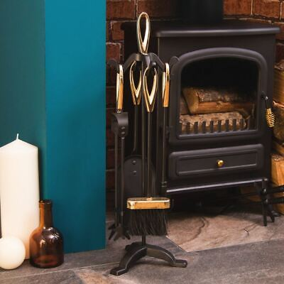 £19.94 • Buy 5 Piece Companion Set Black Fireside Fire Tools Vintage New By Home Discount