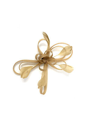 Gold Feather Fascinator Hair Clip Ladies Day Races Party Wedding • 19.99£