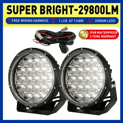 AU88.89 • Buy NEW DESIGN OSRAM 7inch Pair Round LED Driving Lights Spot Black Offroad SUV 4X4