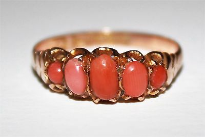 Vintage Antique 9 Ct Gold Graduated 5 Stone Pink Coral Ring Size S  • 195£