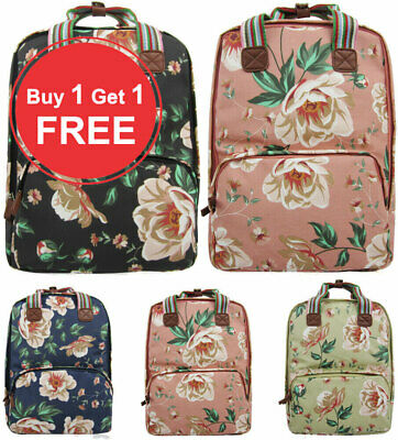 Ladies Oilcloth Backpack Rucksack School College Shoulder Laptop Bag Womens • 19.99£