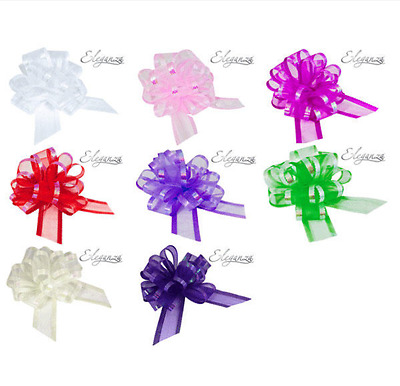 50mm Large Organza Ribbon Pull Bows Various Colours Wedding/party/giftwrap  • 1.79£