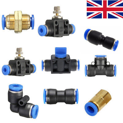 £3.50 • Buy Pneumatic Push In Fittings Air Water Hose Tube Stem NYLON SPEED JOIN ADAPTER TEE