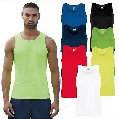 £7.75 • Buy Fruit Of The Loom Mens Performance Athletic Vest Sports Gym Running Tee Tank TOP