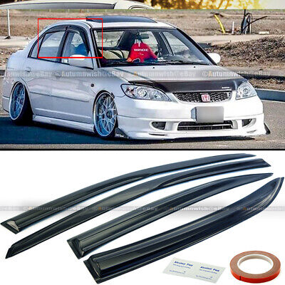 $26.99 • Buy For 01-05 Honda Civic 4DR Sedan JDM Wavy Mugen Style 4 Pcs Window Visor Guard