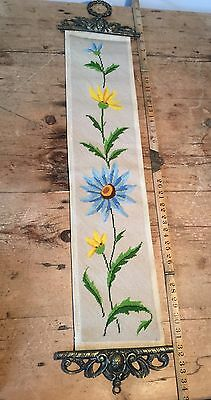 Completed Cross Stitch Spring Yellow Floral Sampler Bell Pull Ends - No Bell • 65£