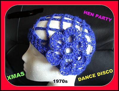 NEW SPARKLY ROYAL BLUE CROCHET HAT HEN PARTY 1970s DISCO DANCE Fancy Dress Abba • 5.99£