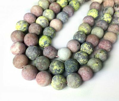$5.25 • Buy 10mm Matte Pink And Green Lepidolite Round Beads Frosted - 15 Inch Strand