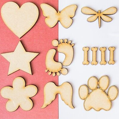 3mm Wooden Blank Shapes Hearts Stars Butterfly Embellishments Craft Decoration  • 0.99£